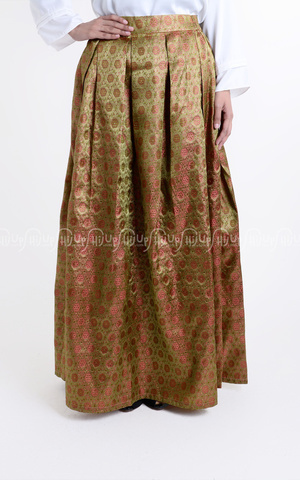 Kloak Songket Skirt With Furing 3 by Shafa Designs
